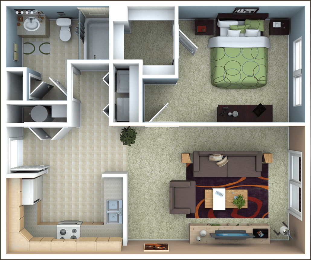 1 Bedroom Apartment Floor Plan